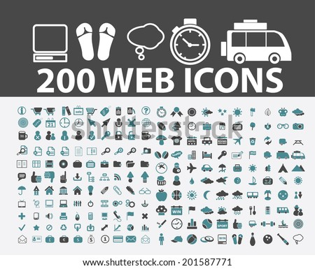 200 web, internet, travel, computer, internet, website icons, signs set, vector - stock vector
