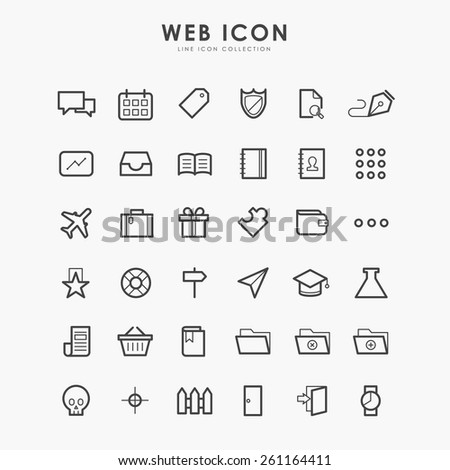 36 web line icon on minimal concept - stock vector