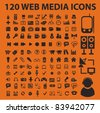 120 web media icons, signs, vector illustration - stock photo