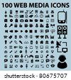100 web media icons, vector - stock vector