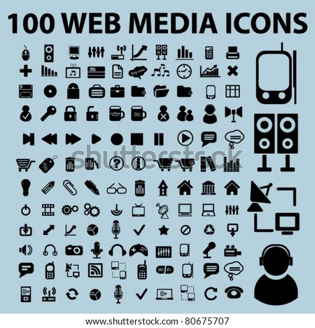 100 web media icons, vector