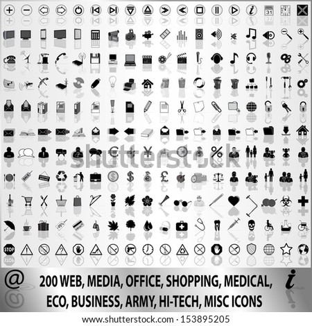 200 web, media, shopping, medical, eco, business, army, hi-tech, misc icons