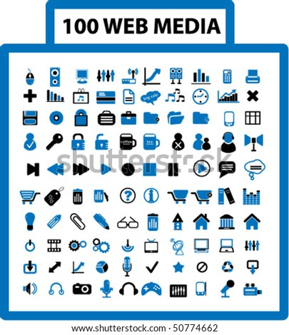 100 web media signs. vector