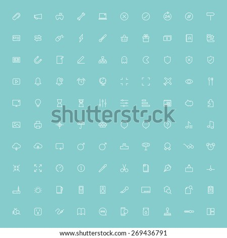 100 web minimal line icons - stock vector