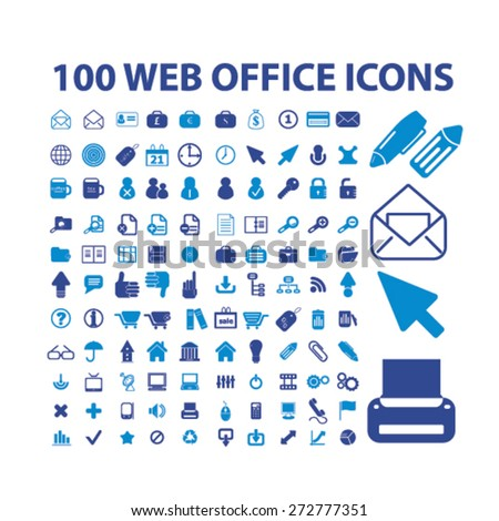100 web office, business icons, signs, illustrations set, vector