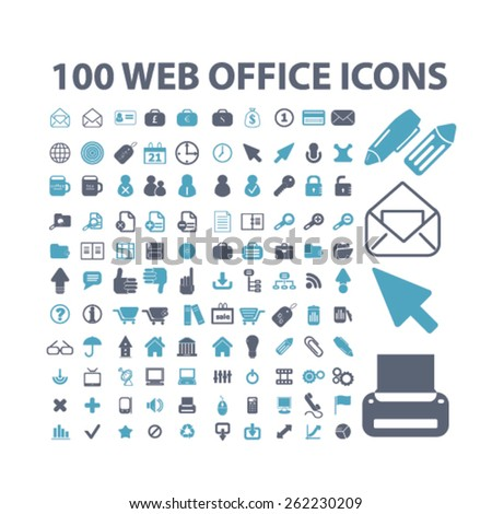 100 web office, document, management, interface icons, signs, illustrations concept design set on background, vector - stock vector