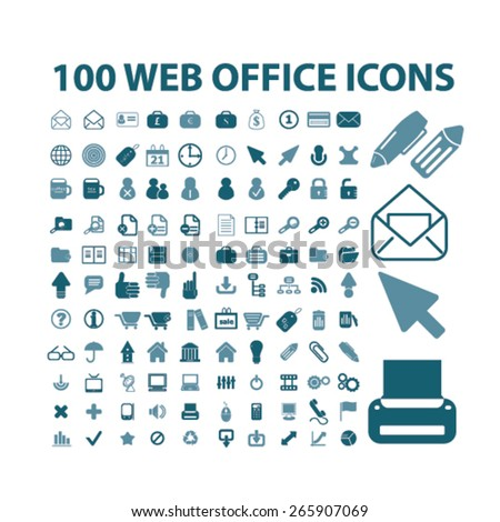 100 web office, documents, work icons, signs, illustrations design concept set for appliciation, website, vector on white background - stock vector