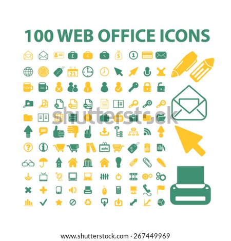 100 web office, workplace, work icons, signs, illustrations concept design set, vector - stock vector