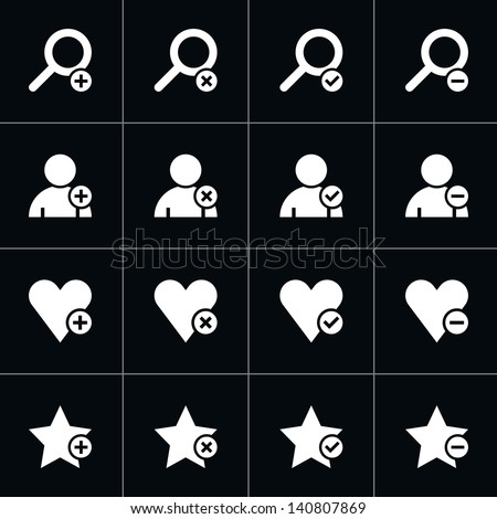 16 web pictogram set. Loupe, user, star, heart with plus, delete, check mark, minus sign. Simple white icon on black. Modern solid plain flat minimal style. Vector illustration design elements 8 eps - stock vector
