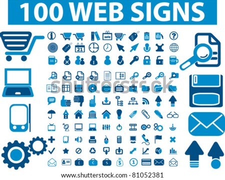 100 web signs, icons, vector - stock vector