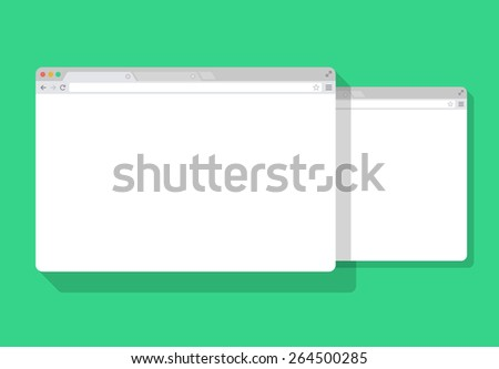 2 web simple set of Browser window white, green background, flat - stock vector