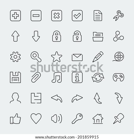 36 web thin line vector icons set - stock vector