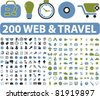 200 web & travel icons, signs, vector illustrations - stock vector
