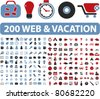 200 web & vacation icons, illustrations, vector - stock vector