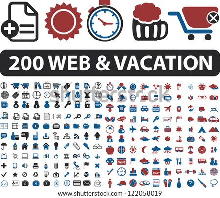 200 web & vacation icons set, vector - stock vector