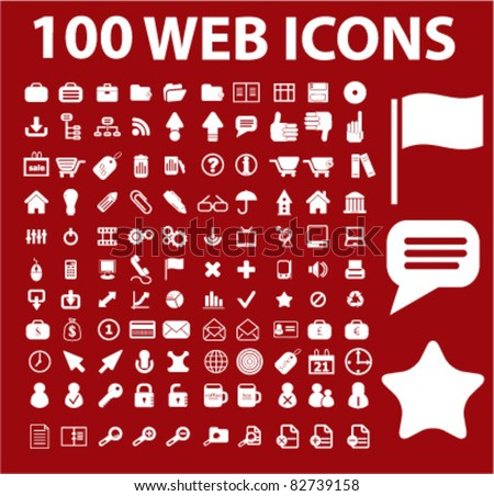 100 web white icons, signs, vector illustrations - stock vector