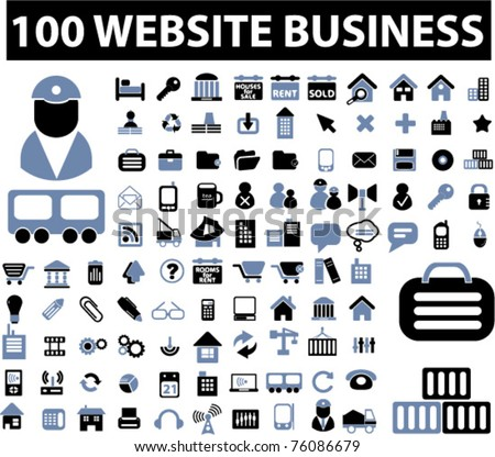 100 website business icons, vector