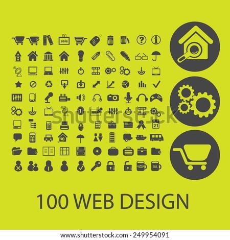 100 website design, internet icons, signs, illustrations set, vector - stock vector