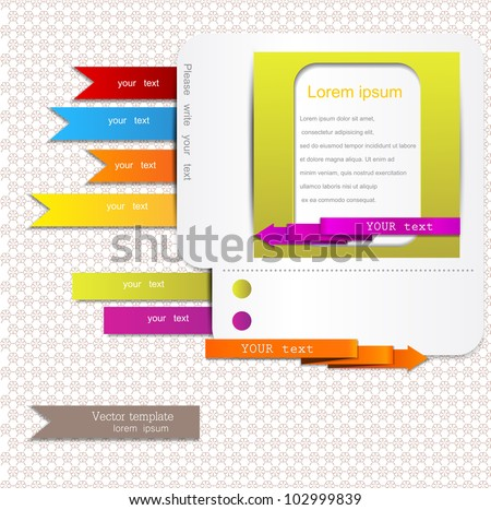 Website elements. Colorful arrows and bookmarks - stock vector