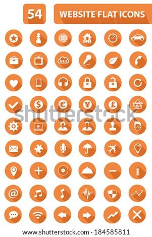54 Website Flat Icons,Orange version,vector - stock vector