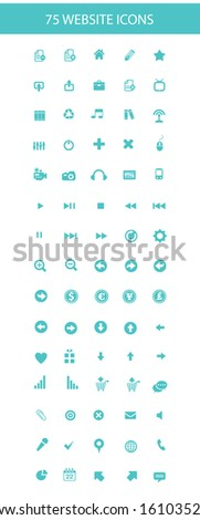 75 Website icons,Blue version,on white background,vector - stock vector