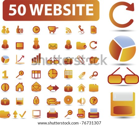 40 website icons, signs, vector illustrations - stock vector
