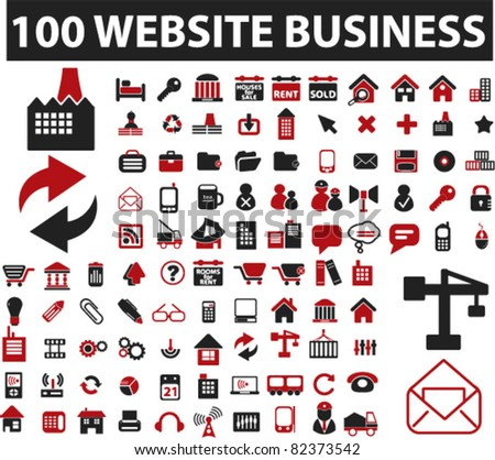 100 website icons, signs, vector illustrations - stock vector