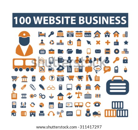 100 Website Industrial Business Icons Stock Vector ...