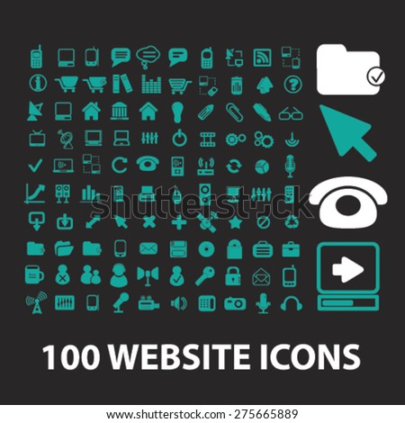 100 website, internet icons, signs. illustrations set, vector - stock vector