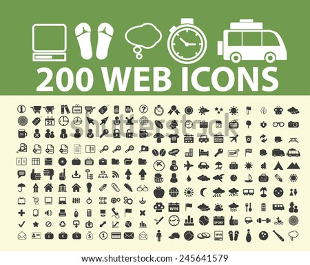 200 website, internet, web, interface, travel icons, signs, illustration isolated on background set, vector