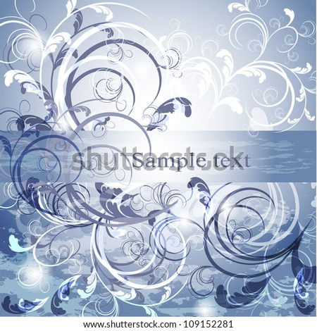 Wedding card or invitation with abstract floral background. Greeting card in grunge or retro style - stock vector