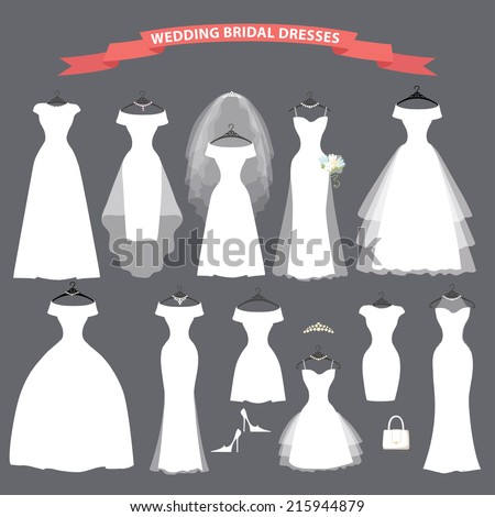 Wedding dresses in Different styles.Bridal Dress made in modern style.White dress silhouette.Holiday vector.  - stock vector