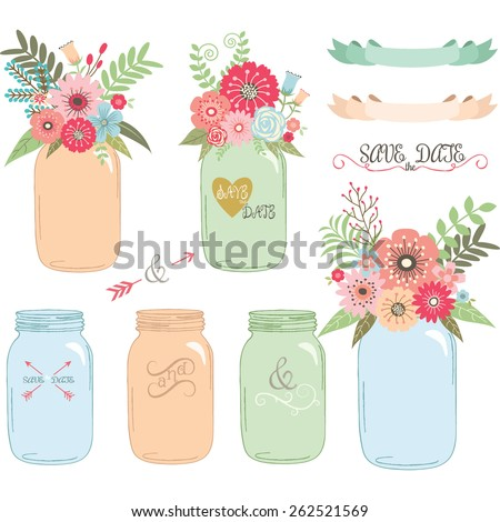 Wedding flower Mason Jar,Hand Draw set - stock vector