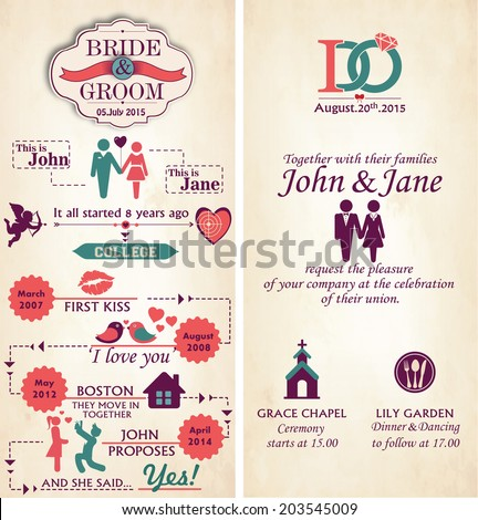 Wedding Invitation Card - Front and Back.  Infographic Style Template. - stock vector