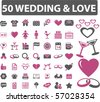 50 wedding & love signs. vector - stock photo