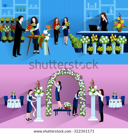 Wedding party decorations bouquets design florist stock vector hd wedding party decorations and bouquets design florist online service 2 flat banners composition abstract isolated vector junglespirit Gallery
