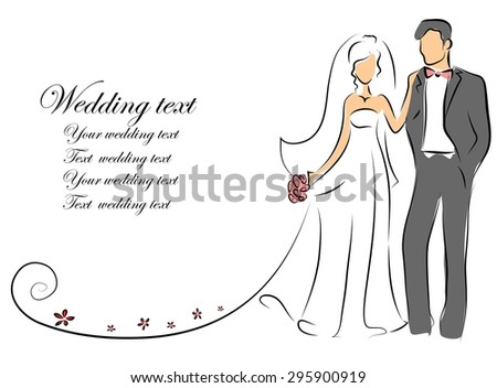 Wedding pictures, bride and groom in love, the vector background