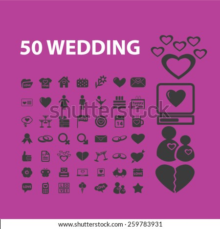 50 wedding, romance, relations icons, signs, illustrations concept design set, vector - stock vector