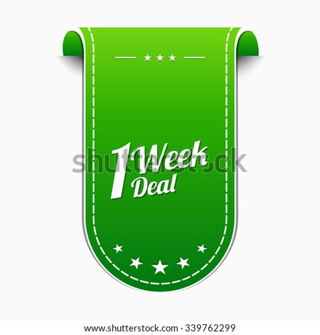 1 Week Deal Green Vector Icon Design