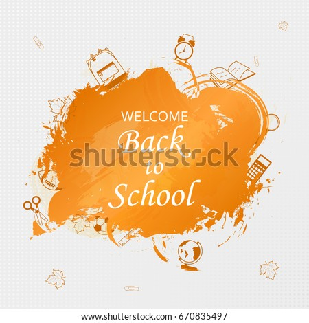 Welcome back school concept school supplies stock vector 670835497 welcome back to school concept with school supplies icons on bright background design template for pronofoot35fo Gallery