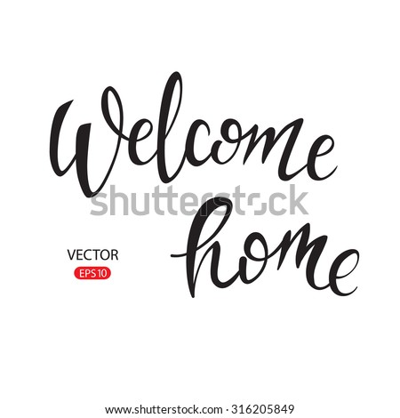 """Welcome"" hand lettering, vector isolated typography design element for greeting cards, posters and print invitations. Unique typography vector isolated on background. - stock vector"