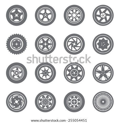 Wheel rims with tire isolated on white background - stock vector
