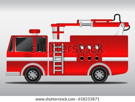 4 wheels hydraulics cabin fire engine, vector illustration