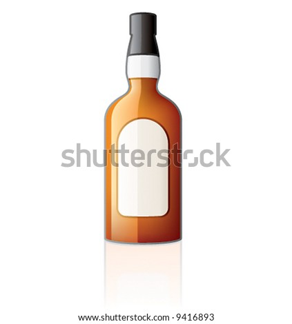 """""""Whiskey Bottle Icon"""" it's specially designed with a web designers in mind to achieve PIN SHARP ICONS ON A SCREEN - stock vector"""