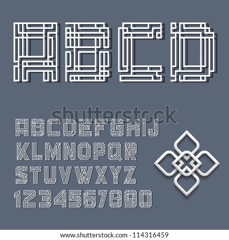 White alphabet letters and numbers in Mayan style. Vector set - stock vector