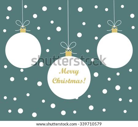 White Christmas  baubles background. Vector illustration - stock vector