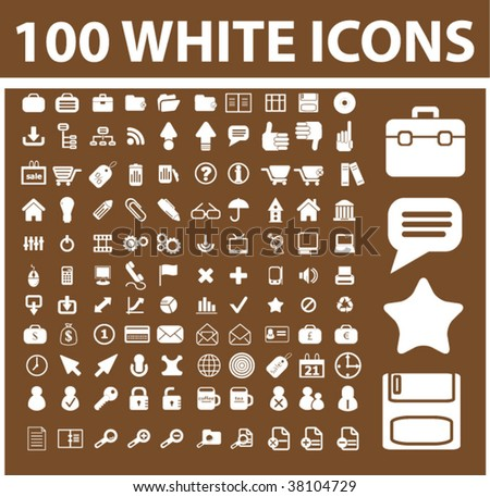 100 white icons on chocolate background