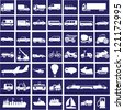 44 white images of transport on a dark blue background - stock vector