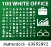 100 white office icons, signs, vector illustrations set - stock vector