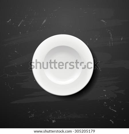 white plate on blackboard  - stock vector